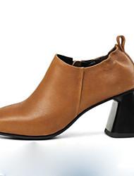 Недорогие -Жен. Обувь Кожа Весна Удобная обувь Обувь на каблуках На толстом каблуке Квадратный носок Черный / Коричневый / Для вечеринки / ужина