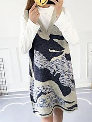 baratos -Mulheres Para Noite Tricô Vestido Decote V Acima do Joelho