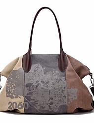 baratos -Mulheres Bolsas Tela de pintura Tote Estampa / Ziper Azul / Roxo / Marron