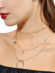 cheap -Women's Pearl Layered Choker Necklace / Pendant Necklace / Layered Necklace - Floral / Botanicals, Moon Personalized, Fashion, Multi Layer Multi-ways Wear Gold, Silver Necklace Jewelry For Evening