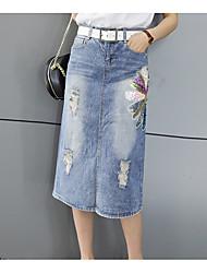 billige -Dame A-linje Nederdele - I-byen-tøj Ensfarvet / Blomstret