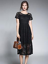 baratos -Mulheres Sofisticado / Elegante balanço / Rodado Vestido - Renda, Sólido / Floral / Geométrica Médio Margarida