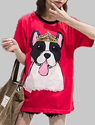 abordables -Mujer Retazos / Estampado - Algodón Camiseta, Escote Redondo Un Color / Animal