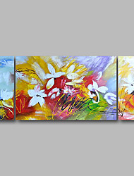 Недорогие -Hang-роспись маслом Ручная роспись - Пейзаж / Цветочные мотивы / ботанический Современный холст
