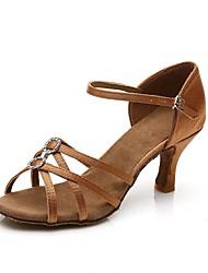 baratos -Mulheres Sapatos de Dança Latina Cetim Salto Cristal / Strass Salto Alto Magro Personalizável Sapatos de Dança Marron