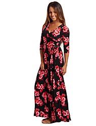 cheap -Women's Basic / Elegant Sheath / Swing Dress - Floral / Geometric Blue & White / Black & Red / Daisy, Pleated / Lace up / Print