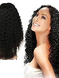 Недорогие -Натуральные волосы Полностью ленточные Парик Малазийские волосы Кудрявый Парик Ассиметричная стрижка 130% / 150% / 180% Без запаха / Конструкторы / Шерсть Черный Жен. Средняя длина / Мода