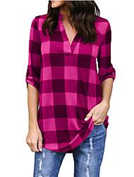 Недорогие -Жен. Рубашка Хлопок, V-образный вырез Полоски
