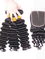 cheap -Indian Hair Deep Wave Natural Color Hair Weaves / Tea Party Favors / Costume Accessories 3 Bundles With  Closure 8-20 inch Human Hair Weaves 4x4 Closure Soft / Best Quality / New Arrival Dark Black
