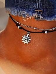 abordables -Femme Effets superposés Bracelet de cheville - Cuir Soleil dames, Elégant, Classique Bijoux Argent Pour Quotidien Bikini