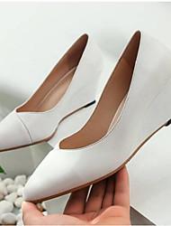 baratos -Mulheres Sapatos Pele Napa Primavera Verão Plataforma Básica Saltos Salto Plataforma Dedo Fechado Preto / Vermelho / Amêndoa