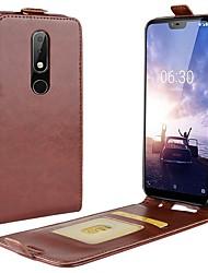 abordables -Coque Pour Nokia Nokia 5.1 / Nokia X6 Porte Carte / Clapet Coque Intégrale Couleur Pleine Dur faux cuir pour Nokia 8 / 8 Sirocco / Nokia 7