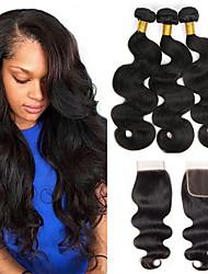 Недорогие -3 комплекта с закрытием Бразильские волосы Волнистый Натуральные волосы One Pack Solution Естественный цвет Ткет человеческих волос Удлинитель Расширения человеческих волос Жен.