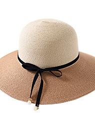 abordables -Femme Basique / Vacances Chapeau de Paille Couleur Pleine