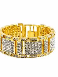 cheap -Men's Cubic Zirconia Stylish / Link / Chain Tennis Bracelet / Bracelet - Precious Stylish, Luxury, Hip-Hop Bracelet Gold / Black / Silver For Gift / Street