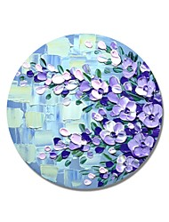 cheap -STYLEDECOR Modern Hand Painted Abstract Circular Frame Purple Flowers on Blue Backgroud Oil Painting on