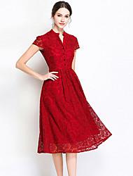 abordables -Mujer Vintage / Básico Corte Swing Vestido - Encaje Midi
