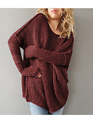 Недорогие -Жен. Хлопок С короткими рукавами Пуловер - Однотонный