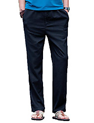 cheap -Men's Cotton / Linen Slim Chinos Pants - Solid Colored High Waist