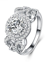 cheap -Women's Cubic Zirconia Layered Band Ring - S925 Sterling Silver Flower Classic, Vintage, Elegant 6 / 7 / 8 Silver For Wedding / Engagement / Ceremony