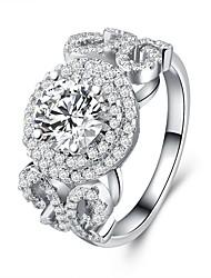 economico -Per donna Zircone cubico A strati Band Ring - Argento sterling S925 Fiore decorativo Classico, Vintage, Elegante 6 / 7 / 8 Argento Per Matrimonio / Fidanzamento / Cerimonia