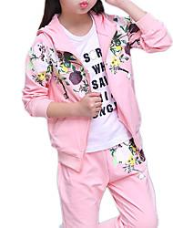Недорогие -Дети Девочки Классический Цветочный принт Длинный рукав Набор одежды