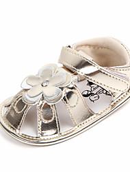 abordables -Fille Chaussures Polyuréthane Eté Premières Chaussures Sandales Fleur / Scotch Magique pour Bébé Or / Argent