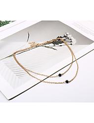 baratos -Mulheres Cristal / Gema Preto Natural Colares com Pendentes / colares em camadas - Cristal Básico, Europeu, Estilo simples Dourado Colar Para Festa, Ocasião Especial, Aniversário