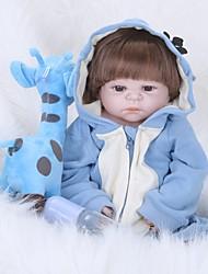 baratos -FeelWind Bonecas Reborn Bebês Meninos 22 polegada Silicone de corpo inteiro - realista, Nozes vedadas e seladas, Olhos Castanhos de Implantação Artificial de Criança Para Meninos Dom