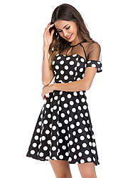 cheap -Women's Plus Size Basic Puff Sleeve Cotton Tunic Dress - Polka Dot Black & White, Tassel