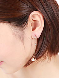 cheap -Women's Cubic Zirconia Long Dangle Earrings - Platinum Plated Princess European, Romantic White and Sliver / Rose Gold For Daily / Street