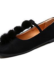 Недорогие -Жен. Полиуретан Лето Удобная обувь На плокой подошве На плоской подошве Круглый носок Черный / Бежевый