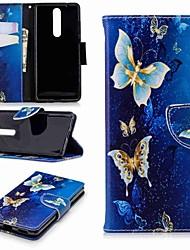 Недорогие -Кейс для Назначение Nokia Nokia 5.1 / Nokia 3.1 Кошелек / Бумажник для карт / со стендом Чехол Бабочка Твердый Кожа PU для Nokia 8 / Nokia 6 2018 / Nokia 2.1
