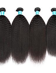 baratos -4 pacotes Cabelo Brasileiro / Cabelo Peruviano Kinky Liso Cabelo Virgem Cabelo Humano Ondulado / Tecer 8-30 polegada Tramas de cabelo humano Fabrico à Máquina Melhor qualidade / 100% Virgem Natural