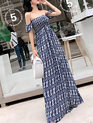 cheap -women's beach boho sheath dress high waist maxi strapless