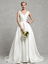 cheap -A-Line V Neck Chapel Train Satin Made-To-Measure Wedding Dresses with Buttons / Lace / Sash / Ribbon by LAN TING BRIDE®