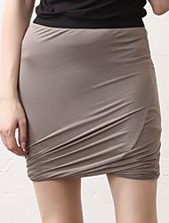 baratos -Mulheres Activo / Moda de Rua Bodycon Saias - Sólido Preto e Vermelho