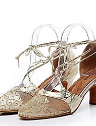 Недорогие -Жен. Обувь для модерна Кружева На каблуках Тонкий высокий каблук Танцевальная обувь Золотой / Черный / Серебряный