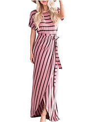 preiswerte -Damen Grundlegend Hülle Kleid Gestreift / Geometrisch Maxi