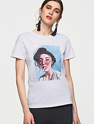 baratos -Mulheres Camiseta Básico Sólido / Retrato Algodão / Verão
