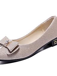 baratos -Mulheres Sapatos Couro Ecológico Verão Conforto Rasos Sem Salto Ponta Redonda Laço Preto / Prata / Roxo