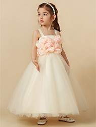 cheap -Sheath / Column Knee Length Flower Girl Dress - Tulle Sleeveless Straps with Flower by LAN TING BRIDE®