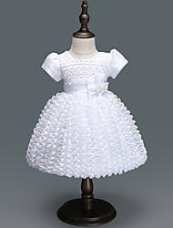 abordables -bébé Fille Actif / Basique Soirée Couleur Pleine Plissé Manches Courtes Mi-long Robe / Bébé
