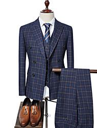cheap -Men's Plus Size Suits-Plaid Peaked Lapel / Long Sleeve