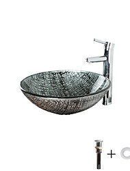 cheap -Bathroom Sink / Bathroom Faucet / Bathroom Mounting Ring Antique - Tempered Glass Round