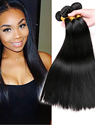 cheap -3 Bundles Indian Hair Straight Human Hair Extension 8-28 inch Human Hair Weaves Machine Made Easy dressing / Extention / Best Quality Black Natural Color Human Hair Extensions Unisex