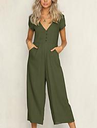 cheap -Women's Plus Size Active Puff Sleeve Cotton Romper - Solid Colored / Polka Dot / Geometric, Tassel Wide Leg