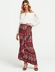 cheap -Women's Boho Asymmetrical Trumpet/Mermaid Skirts - Paisley