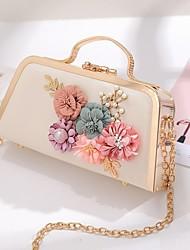 cheap -Women's Bags PU(Polyurethane) / Alloy Evening Bag Appliques / Pearls Floral Print Blushing Pink / Light Gold / Light Purple