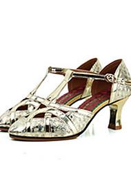 baratos -Mulheres Sapatos de Dança Moderna Couro de Porco Salto Salto Grosso Sapatos de Dança Dourado / Prateado / Espetáculo / Ensaio / Prática